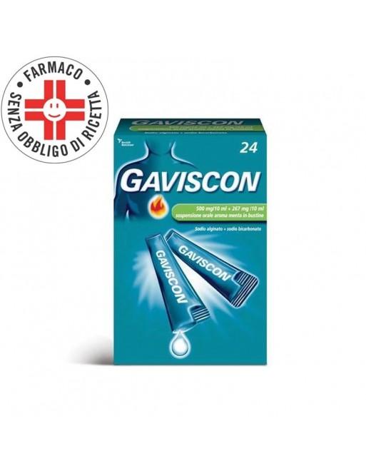 Gaviscon Sospensione Orale 500+267mg/10ml 24 Bustine Aroma Menta