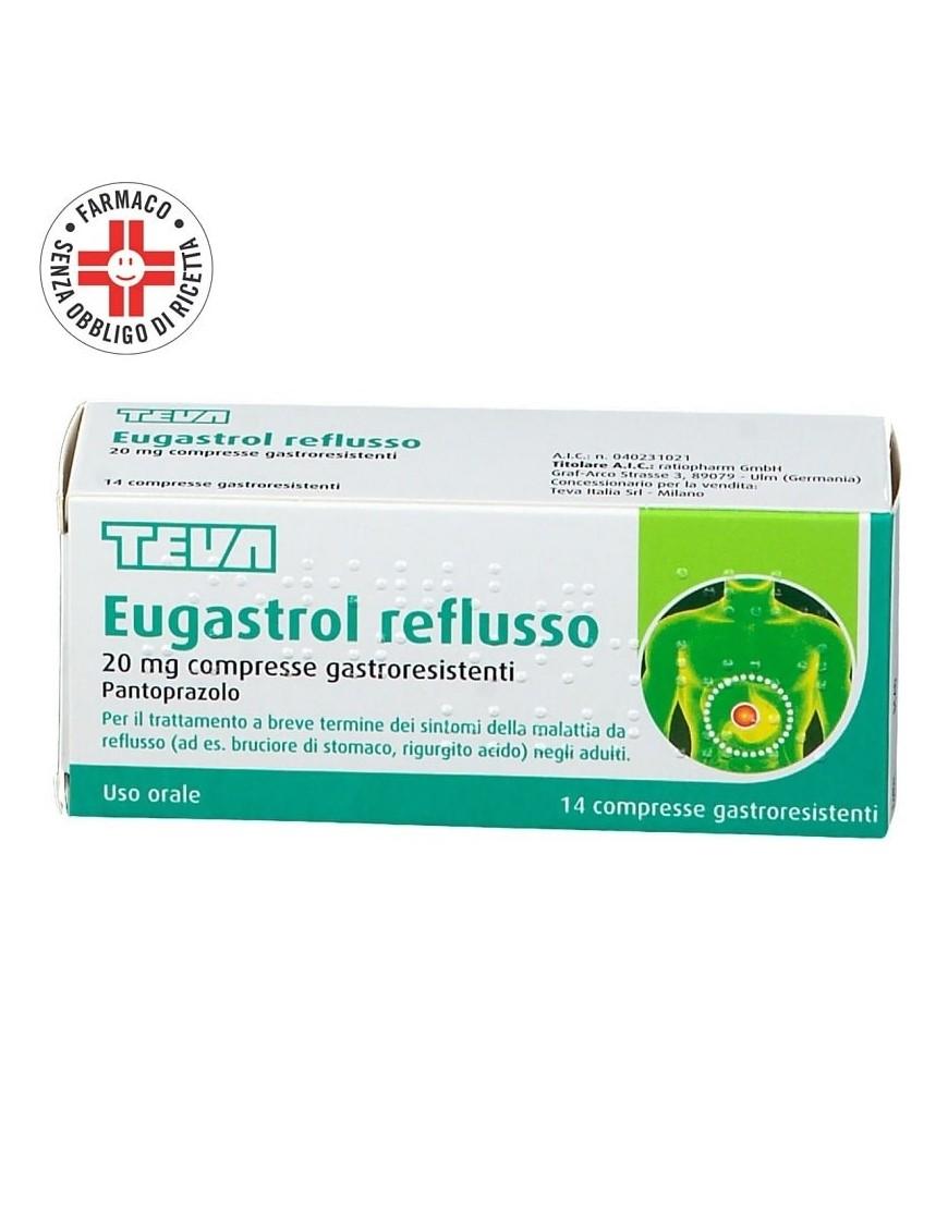 Eugastrol Reflusso 20mg 14 Compresse (Pantoprazolo)